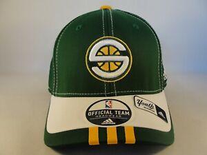 Kids Youth Size Seattle Supersonics NBA Adidas Flex Hat Cap Green White