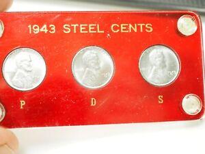 1943 PDS Steel Cent Set in Plastic Holder