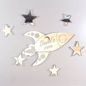 Rocket Mirror Set Personalised Door Name Plaque Boy Girls Bed Room Sign
