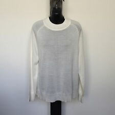 'MEREDITH' AS NEW SIZE 'L' CREAM MERINO WOOL BLEND LONG SLEEVE TOP