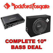 "ROCKFORD Fosgate 10 ""CAR SUB SUBWOOFER BASS BOX + Amplificatore / Amp + Kit di cablaggio"