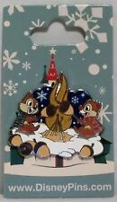 Disney Christmas Holiday Chip & Dale Roasting Acorns Stained Glass Pin NEW RARE