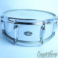 """*Slingerland 14x5"""" Festival Chrome Steel Snare Drum 8Lug Vintage 70s No.141 USA*"""