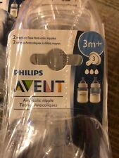 4 Packs of 2 Clear Philips AVENT Anti-Colic Nipple, Med Flow 3+ Months (Total 8)