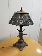 New listing Antique Slag Glass Lamp Cherubs Signed P.H.