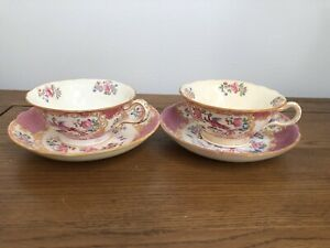 "2x Antique Pink Minton tea cup and saucer duo ""Cockatrice""  Exotic Bird 9646"