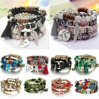 Boho Multilayer Natural Stone Crystal Bangle Bead Tassel Pendant Chain Bracelet