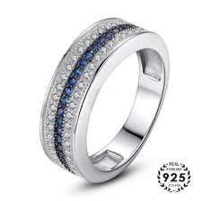 925 Sterling Silver Ring with Round Sapphire Zircon Gemstone Fine Jewelry