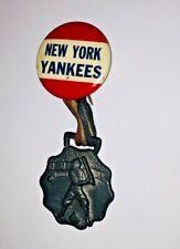 Very RARE New York Yankees Vintage MLB Baseball Pin w/Ribbon Medal Early 1940s