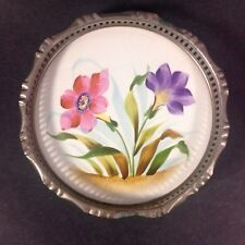 GORGEOUS VICTORIAN PORCELAIN HAND PAINTED DRESSER TRAY WITH DECORATIVE METAL RIM