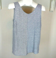 C & C California Linen Knit Stripe Top Sz Large Navy Blue Tank Summer