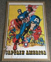 original 1969 Marvelmania poster ~ CAPTAIN AMERICA vs Red Skull ~ 22.5x33 inches