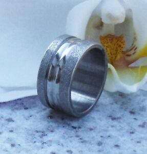 Ring Edelstahl Edelstahlring 2 mattierte Streifen Gr 17,5 mm