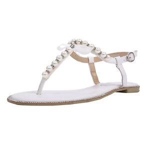 SheSole Women Ladies Fashion Summer White Flat Sandals Thong Bridal Wedding Shoe