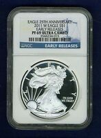 """2011-W PROOF SILVER EAGLE NGC PF69 """"EARLY RELEASES"""" FROM 25TH ANNIVERSARY SET"""