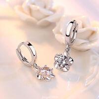 18K Gold Plated Zirconia Flower Drop Dangle Earrings For Women Jewelry Gifts