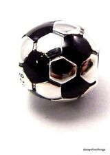 NEW! AUTHENTIC PANDORA SILVER CHARM SOCCER BALL BLACK ENAMEL #790406