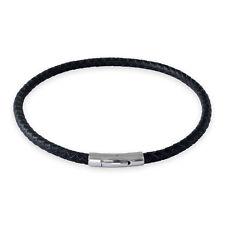Lederkette Schwarz Halskette Armband mit Verschluss Damen Herren geflochten
