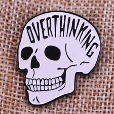 Anxiety Skull Over Thinkers Overthinking Pin Human Anatomy Series Halloween day