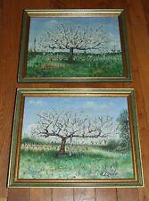 2 Tableaux Huile arbres en fleur Printemps Signé Gerbelot