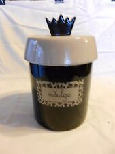 Indulge Candy or Cookie Jar with Crown, Brown & Tan Pottery