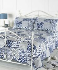 Country Club Embossed Bedspread Set Indigo Pillow Sham Patchwork Quilt Bed Cover