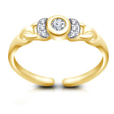 Gold Over Solitaire Adjustable Toe Ring 0.28 Ct Diamond 925 Silver 14K Yellow