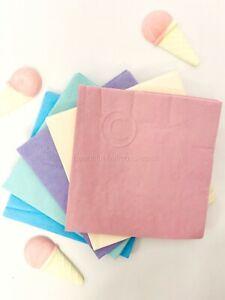 100 paper napkins (5 x 20 Pack) of Vintage pretty plain Pastel Lunch Napkins