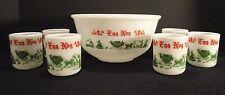 HAZEL ATLAS Egg Nog Milk Glass Punch Bowl Christmas Party 6 Mugs Carriage Scene