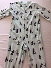 Small Nick Nora Penguin 1 Piece Pajamas Unionsuit Fleece Footless Baked Alaska