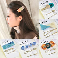 Fashion Women Pearl Acrylic Hair Clips Snap Barrette Stick Crystal Hairpins Set