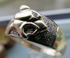 Vintage  hallmarked gold 9ct & diamond panther  ring