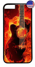 Music Flames Guitar Art Rubber Case Cover For iPhone 11 Pro Max Xs XR 8 Plus 7