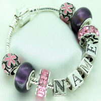 Personalised Girls Jewellery Purple Pink Charm Bracelet ANY NAME Birthday Gifts