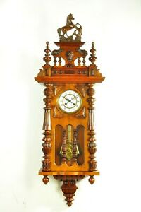 Amazing Antique F. Mauthe Spring Driven Wall Clock Split Window approx.1900