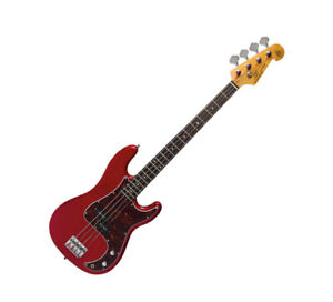 Electric Bass Guitar PB Style Double Cutaway in Red with Gig Bag by SX