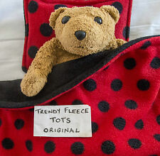 DOLL blanket TEDDY cot pram PILLOW BEDDING red black SPOTS  fleece LADYBIRD