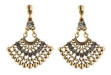 Clip On Earrings - antique gold plated Aztec design dangle earring - Bem G
