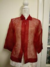Red sheer organza blouse 3/4 sleeves 8 10 party Christmas Valentine's