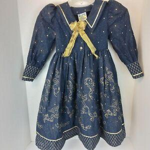 VTG Daisy Kingdom SZ 4 Girls Dress Long Sleeve Navy Gold Cherubs Stars Sailor...