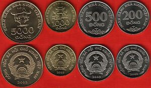 Vietnam set of 4 coins: 200 - 5000 dong 2003 UNC