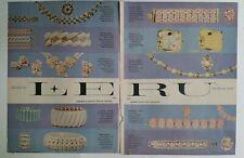 1957 Leru luxury look necklace bracelet earrings pin vintage jewelry 2 page ad