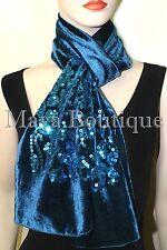Teal Blue Scarf Sequin Velvet & Georgette Double Sided Maya Matazaro