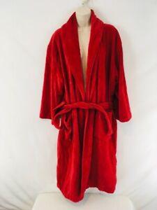 Ikea Womens S/M Red Plush Fineline Corduroy Cotton Spa Bathrobe Bath Robe