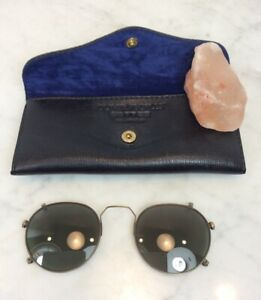 Vintage OLIVER PEOPLES Green Sunglasses Clip On With Case