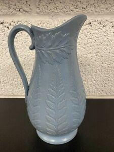 Dudson Pottery Antique Blue Fern Jug Pressed Mold Pitcher c1860 Victorian 21cm