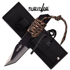 7 INCH SURVIVAL KNIFE WITH PARACORD, MAGNESIUM ALLOY FIRE STARTER, NYLON SHEATH