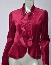 White House Black Market Burgundy Velvet Military Victorian Blazer Jacket Coat 6