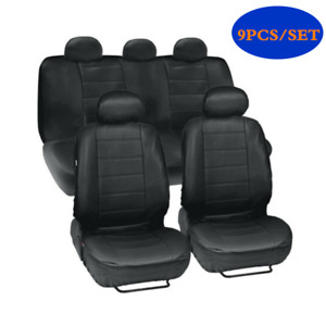 Four Seasons Universal Artificial PU Leather Car Seat Cover Cushion Black 9Pcs