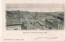 Hewitt Ave Looking West EVERETT WA Merchants Undivided Back Vtg 1900s Postcard